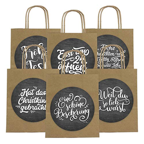 6 Geschenktüten zu Weihnachten 18cm x 22.5cm x 8cm mit XXL Stickern - Weihnachtsgeschenke praktisch verpacken - Ideal zum Verschenken - Henkeltüte Motiv Handlettering