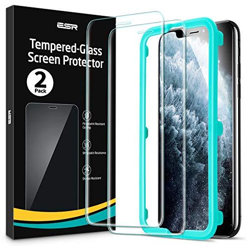 ESR 2 Pack Protector Pantalla Compatible con iPhone 11 Pro MAX, Cristal Templado iPhone XS MAX, Marco Instalación Fácil,Sin Burbujas Dureza 9H Vidrio Templado