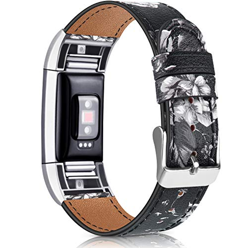 Vancle - Cinturino di ricambio per Fitbit Charge 2, classico, in vera pelle, per Fitbit Charge 2 (fiore grigio)