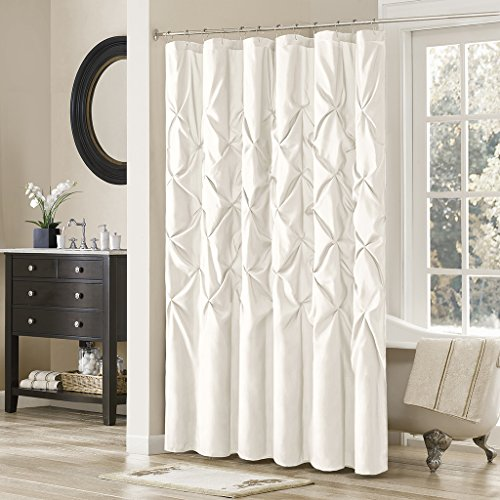 Madison Park Shower Curtain, Geometric Textured Tufted Design Modern Mid-Century Bathroom Decor, Machine Washable, Fabric Privacy Screen, 72x72, White