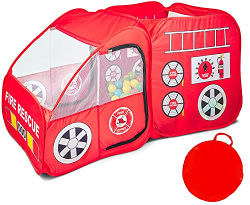 Fire Truck Tent for Kids Toddlers Boys & Girls - Red Fire Engine Pop Up Pretend Playhouse for...