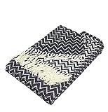 Moon Luxury Decke aus Baumwolle ca. 150x200 Kuscheldecke Zick-Zack Muster Tagesdecke mit Fransen leicht und kuschelig – weiß / schwarz