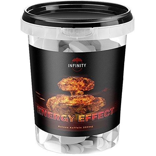 Energy Effect, 300 Vegane Koffein Tabletten, auf 200 mg pro Tab Hochdosiert, Coffein - Caffeine natürlicher Wachmacher, Unterstützt Energy - Level & Stoffwechsel, Pre-Workout Booster