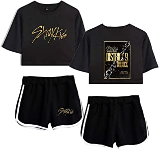 Flyself Girls Kpop Stray Kids Crop Top T-Shirt Shorts Set Printed Tracksuits Casual Summer Short Sleeve Crop Tops and Shor...