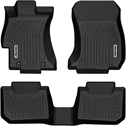 OEDRO Floor Mats Compatible with 2016-2017 Subaru Crosstrek, 2012-2016 Subaru Impreza, 2015-2020 Subaru WRX/WRX STi, 2013-2015 Subaru XV Crosstrek, Black TPE All-Weather Guard 1st and 2nd Row Liners