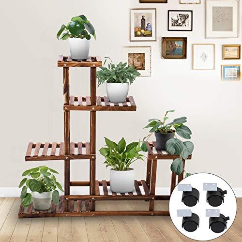 Kaigelu888 Soporte para Plantas, Estantería Decorativa Macetas com 4 Ruedas, Estanteria Madera para Plantas para Exterior Interior, Sala, Dormitorio, balcón y jardín, 98x97x25cm (4 Ruedas)