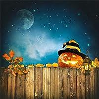 Qinunipoto 背景布 ハロウィン happy halloween 撮影用 かぼちゃの背景 夜 カエデの葉 月 星空の背景 写真撮影用 写真の背景 背景幕 写真スタジオ 写真撮影用の背景幕 撮影布 写真スタジオ ビニール 3x3m