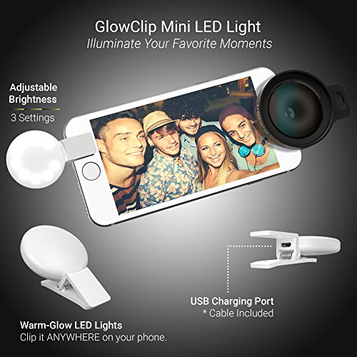 Xenvo Pro Lens Kit for iPhone, Samsung, Pixel, Macro and Wide Angle Lens with LED Light and Travel Case