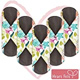 Sanitary Reusable Cloth Menstrual Pads by Heart Felt. XL 5 Pack Washable Natural Organic Napkins with Charcoal...