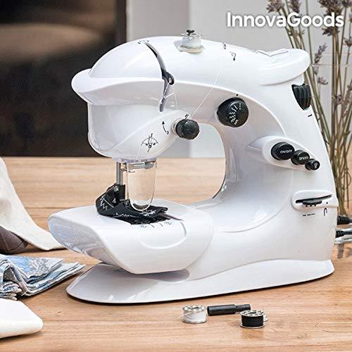 InnovaGoods Máquina de Coser Compacta 6 V 1000 mA, Vinilo y ABS, Blanco, 23x26x12 cm