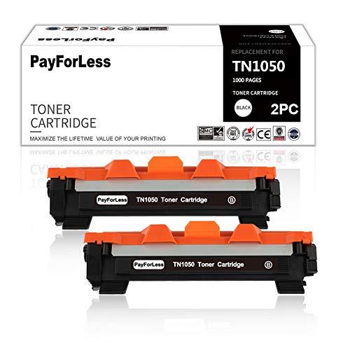 PayForLess Tóner compatible con TN-1050 TN1050 para Brother DCP-1510 DCP-1512 DCP-1612W DCP-1610W HL-1110 MFC-1910W MFC-1810 HL-1112 HL-1210W HL-1212W (2 unidades), color negro