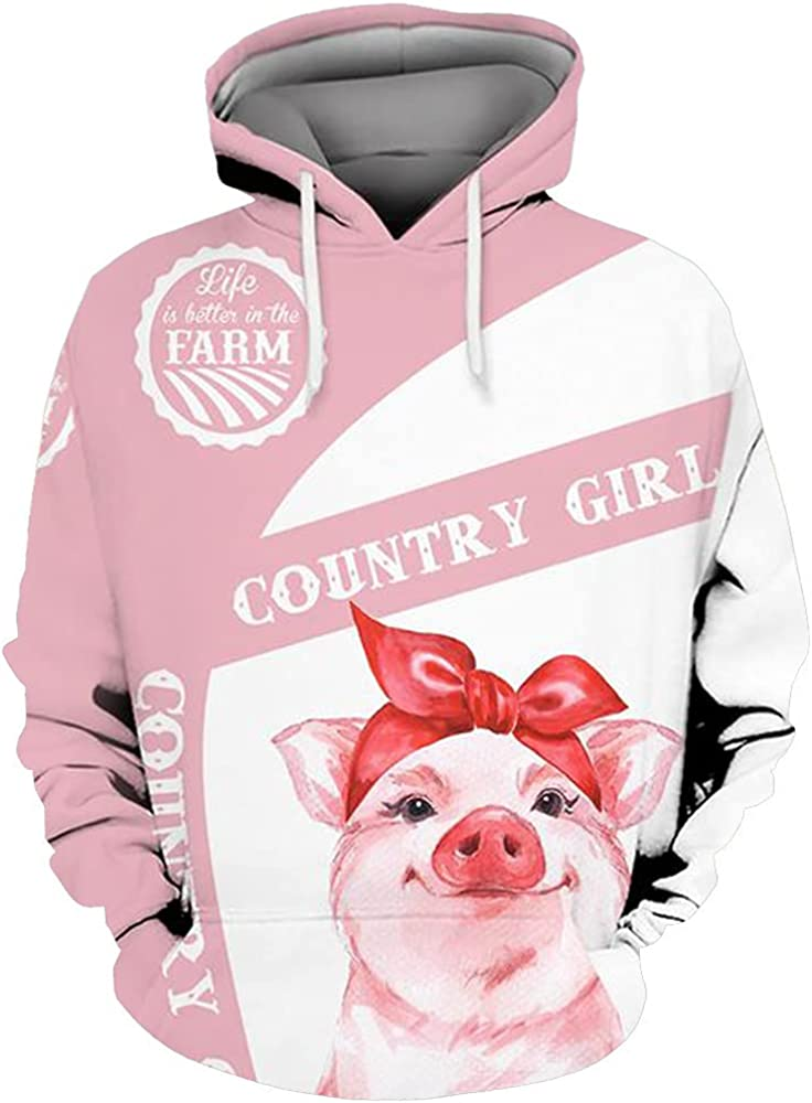 Pig Hoodie, Pig Hoodies For Men Women - Warm Brushed Fleece Layer Inside - Pullover Long Sleeve Hooded Sweatshirt 53