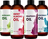 Carrier Oils For Essential Oil - 4 Piece Variety Pack Gift Set Coconut Oil Grapeseed Oil Avocado Oil & Sweet Almond Best Oils for Stretch Mark Dry Skin Moisturizer Hair Packaging May Vary 4oz Each