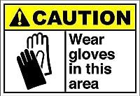 このエリアで手袋を着用してください注意壁の金属のポスターレトロなプラーク警告ブリキのサインヴィンテージ鉄の絵画の装飾オフィスの寝室のリビングルームクラブのための面白い吊り下げ工芸品