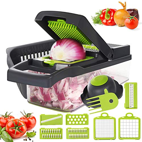 Vegetable Chopper, 12 in 1 Mandoline Slicer Food & Onion Chopper Cuber Cutter Onion Dicer, Veggie Slicer Manual for Garlic, Cabbage, Carrot, Potato, Tomato, Fruit, Salad (Green)