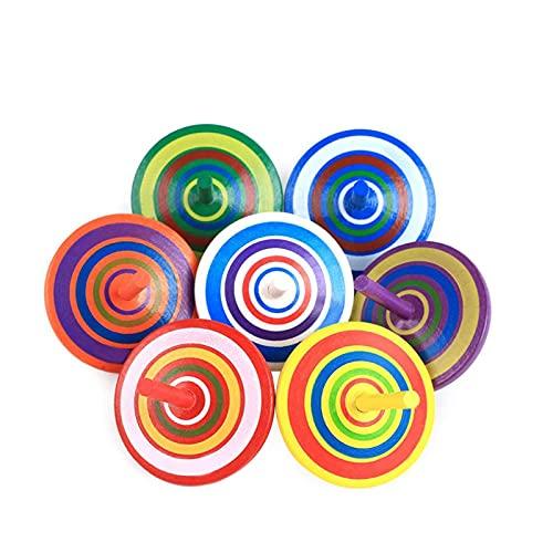 Herefun Trottola in Legno, 16 Pezzi Mini Giroscopio in Legno Colorati Artigianali Set ,Festa Compleanno Bimbi regalino fine Festa (Colore Casuale)