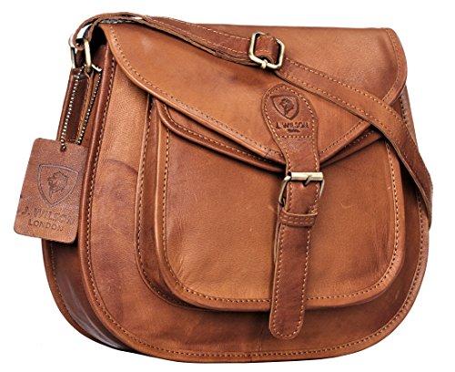 J WILSON London - Designer Genuine Real Distressed Retro Vintage Hunter Leather Handmade Women Ladies Unisex Flapover Gypsy Festival Travel Satchel Everyday Crossover Work iPad Shoulder Bag