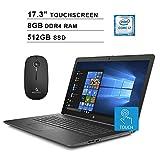 2020 HP Pavilion 17.3 Inch Touchscreen Laptop  Intel Core i7-8565U up to 4.6 GHz  8GB RAM  512GB SSD  DVD  WiFi  Bluetooth  HDMI  Win10  Gray + NexiGo Wireless Mouse Bundle