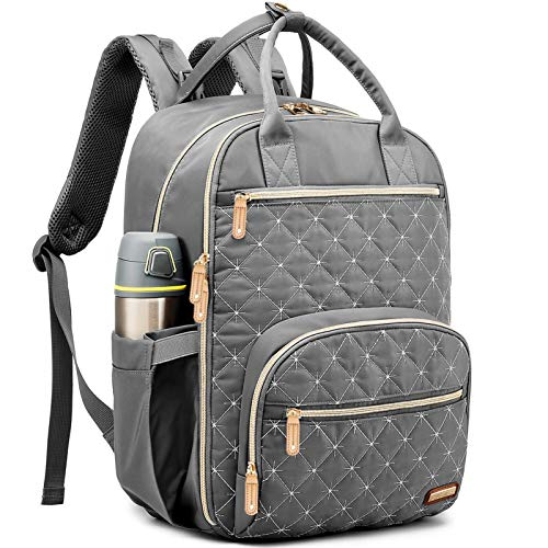 Diaper Bag Backpack, Baby Bag with Changing Pad for Boy Girl, GAIVP Large Multifunction Travel Back Pack for Mom & Dad, Gray