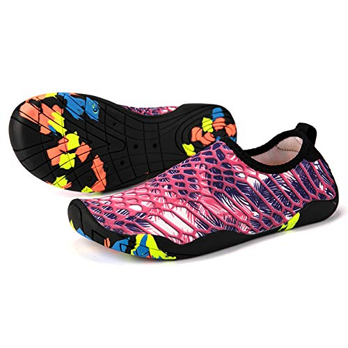 HOTROAD Zapatos de Agua Ligeros Descalzos Sandalias de Playa sin Cordones para Mujeres, Hombres y niños Río Camping Viajes Deportes Zapatos de Agua Calcetines de Yoga Zapatos de surf-205-Morado 38