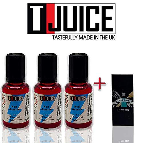 T-Juice - Red Astaire 30ml 3er Pack Sparpaket Bundle + 1x Liquidküche Akku Sleeve | zum Mischen von Liquid für EZigaretten | Schutzhülle für deine Akkus | Konzentrat | Nikotinfrei?