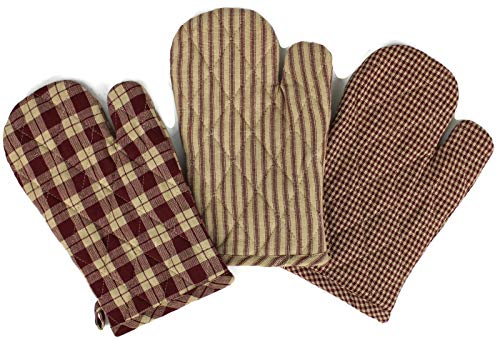 Rustic Covenant Woven Cotton Farmhouse Oven Mitts, Set of 3, 7 inches x 10.5 inches, Burgundy Red/Natural Tan