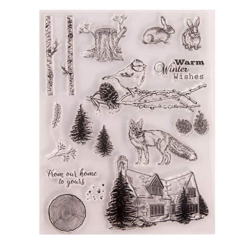 Winter Tree Branches Bird Rabbit Fox House Silicone Stamps for Card Making and Scrapbooking Warm Wishes Clear Rubber Stamps (T1615)