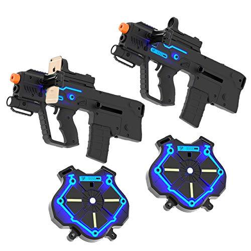 Strike Pros Alpha Laser Tag Game Kit -Adult & Kids Laser Set - Rechargeable Gun with Tactical Vest, Adjustable Scope, Rugged Cell Phone Holder for Twitch Streaming - Set of 2 Guns & Vests