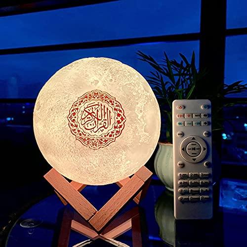 Xzcdpps Altavoz Bluetooth Lámpara De Noche De Luna 3D Inalámbrica con Control Remoto, Altavoz De Luz De Noche Musulmana del Corán, Mini Lámpara Táctil De Cambio De Color Reproductor De Bluetooth