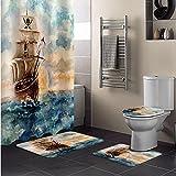 ZSYNB Cortina de ducha de pintura de acuarela pirata 4 piezas set baño antideslizante alfombra cubierta de inodoro decoración del hogar impermeable y durable