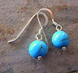 Turquoise Gemstones and Sterling Silver Drop Earrings, Gifts for Her