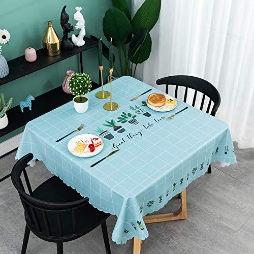 Asvert Mantel Mesa Resinado Antimanchas Impermeable Nórdico Moderno de Plástico PVC (Azul)