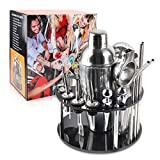 Bartender Kit Bar Tool Set Cocktail Shaker Set with Rotating Stand 20 Piece Perfect Home Bartending Kit and as Best Gift or for Hom