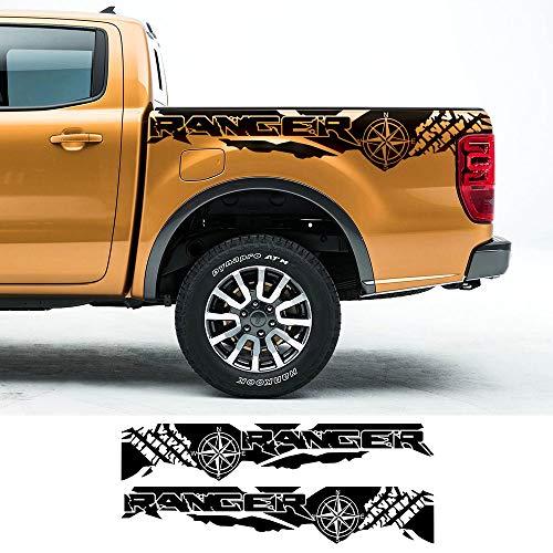 ZYHZJC 2 Stück Autoaufkleber Reifendruck Kompass Abenteuer Off Road Heck Vinyl Grafik Aufkleber Pickup Zubehör für Ford Ranger Raptor