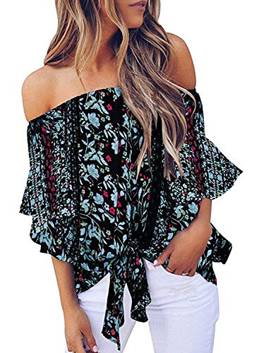 Asvivid Womens Summer Floral Printed Off The Shoulder Tops 3 4 Flared Bell Sleeve Blouses Tie Knot T-Shirt Tops L Black