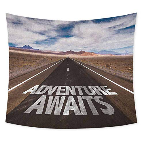 jecycleus Adventure Grateful Dead Tapestry Adventure Awaits Written on The Asphalt with Clouds and Sky Road Trip Theme Wall Decor for Bedroom Tapestry W55 x L55 Inch Brown Blue White