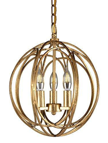 Docheer Vintage Gold Metal Globe Shape Orb Candle Chandelier Industrial Lighting Ceiling Pendant Lamp 3-Light Hanging Fixture for Dining Room Bedroom,Entryway,Cafe bar