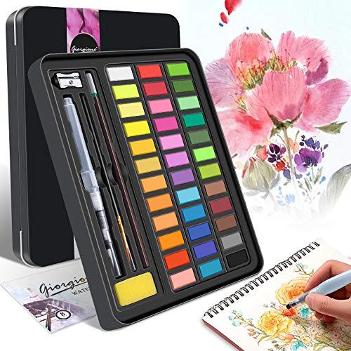 YUHENGLE Aquarellfarben Set, 36 kräftige Farben, Aquarellfarben Kasten mit 8 Aquarellpapiere, 3 pinsel,wasserlöslich und gut mischbar Aquarell-Farben-Set Perfekt für Anfänger und Profis