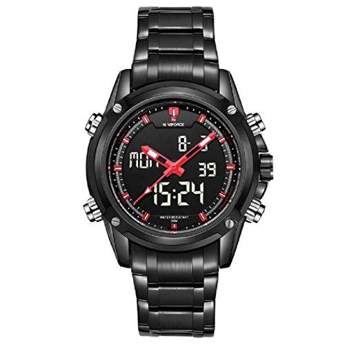 Naviforce Herren Uhr Analog Digital Quarz mit Edelstahl Armband 9050