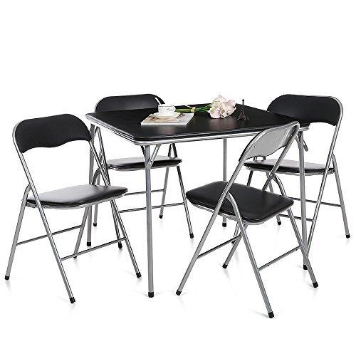 IKAYAA - Conjunto de Muebles Plegables 5pcs/Set (Mesa MAX.100kg + 4 Sillas MAX.100kg) - para Casa Jardin Comedor Oficina Reunion Fiesta Jugar