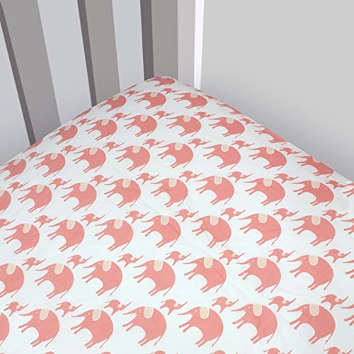 Magnolia Organics Elephant Crib Sheet - Standard, Roxy
