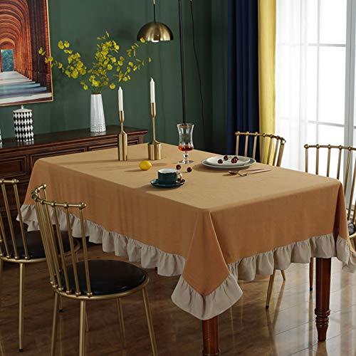 Baumwolltischdecken Rüschenspitze, Anti-Falten-Tischdecke ohne Verblassen Einfarbig Weiche Tischdecke Quadratisches Rechteck Rund (Rechteck & Quadrat)