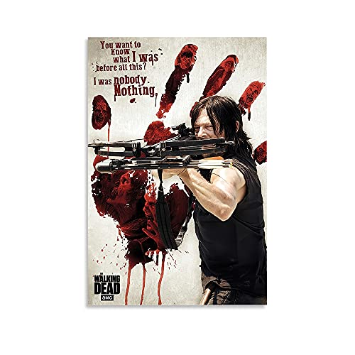 woplmh Horror TV Posters The Walking Dead Aryl Dixon Canvas Art Poster and Wall Art Picture Print Modern Family Bedroom Decor Posters 12x18inch(30x45cm)