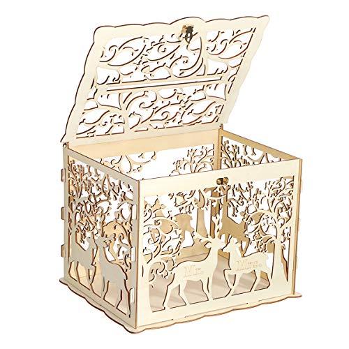 SGPL houten liefdevolle herten bruiloft kaart doos bruiloft geld doos houten geschenkdoos met slot bruiloft verjaardagsfeest verjaardag thuis