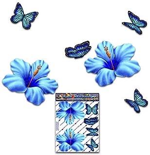 青いハイビスカスの花の花と蝶動物小パックおかしいジョークデカールステッカー車自転車ラップトップ電話トラックオートバイボートキャラバン-ST00023BL_SML-JASステッカー