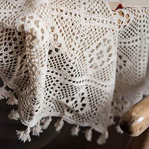 JLYZB gehaakte kant tafelkleed, handgemaakt geweven tafelkleed hol macramé kant piano meubels tafeldecoratie tafellinnen beige 180x180 cm (71x71 inch)