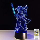 Master Yoda Star 3D luz de noche cambio de color Wars Hollywood película de ciencia ficción lámpara de mesa ventiladores decoración de regalo para niños