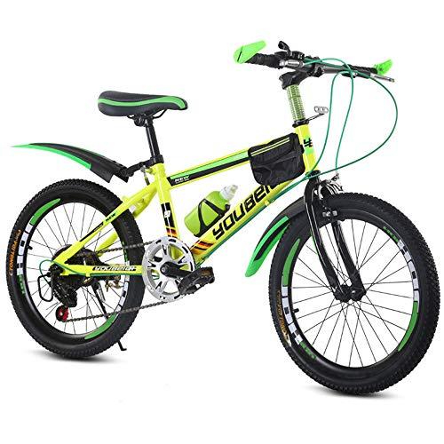 JHKGY Bicicleta De Montaña para Niños, Doble Suspensión,Twist Shifters,Frenos Delanteros Y Traseros,para 6-12 Años Niños Niñas,Amarillo,22 Inches