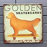 PotteLove Golden Skateboards Pets Dog Funny Metal Tin Signs Plaque Wall Poster for Garage Man Cave Cafe Bar Pub Beer Outdoor Kitchen Home Decor