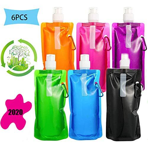 6Piezas Botella de Agua Plegable,Botella de Agua Plegable de Silicona...